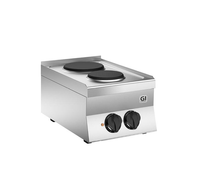 XXLselect 650 HP Kooktoestel | Met 2 Gietijzeren Kookplaten Ø 180 + 220mm | 4,1 kW |  400x650x(H)295mm