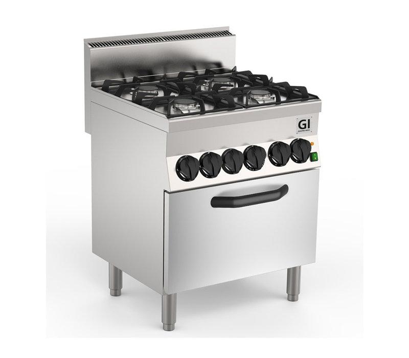 XXLselect 650 HP Gasfornuis | 4 Gelijke Branders + Elektrische Heteluchtoven 19 + 4,2 kW | 700x650x(H)870mm