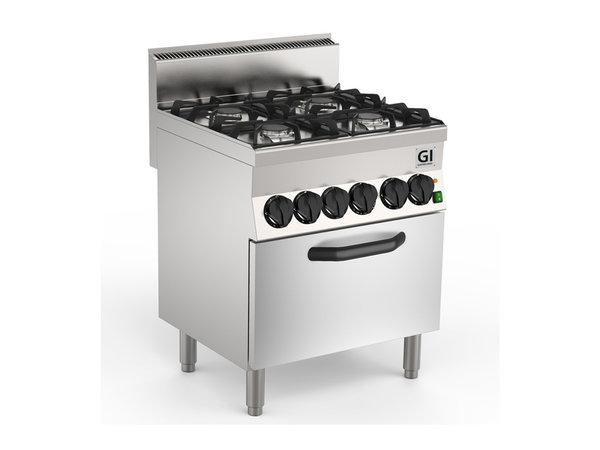 XXLselect 650 HP Gasfornuis | 4 Branders + Elektrische Heteluchtoven 19 + 4,2 kW | 700x650x(H)870mm