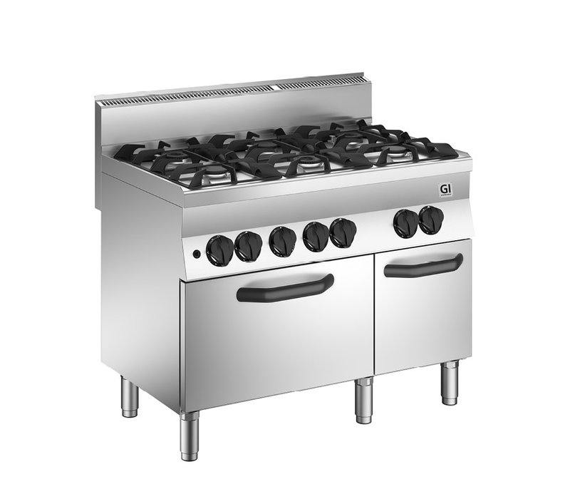 XXLselect 650 HP Gasfornuis | 4 Branders + Gas Oven 33 kW | 1100x650x(H)870mm