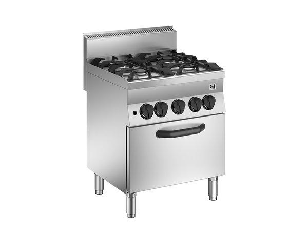 XXLselect 650 HP Gasfornuis | 4 Branders + Gas Oven 35 kW | 700x650x(H)870mm