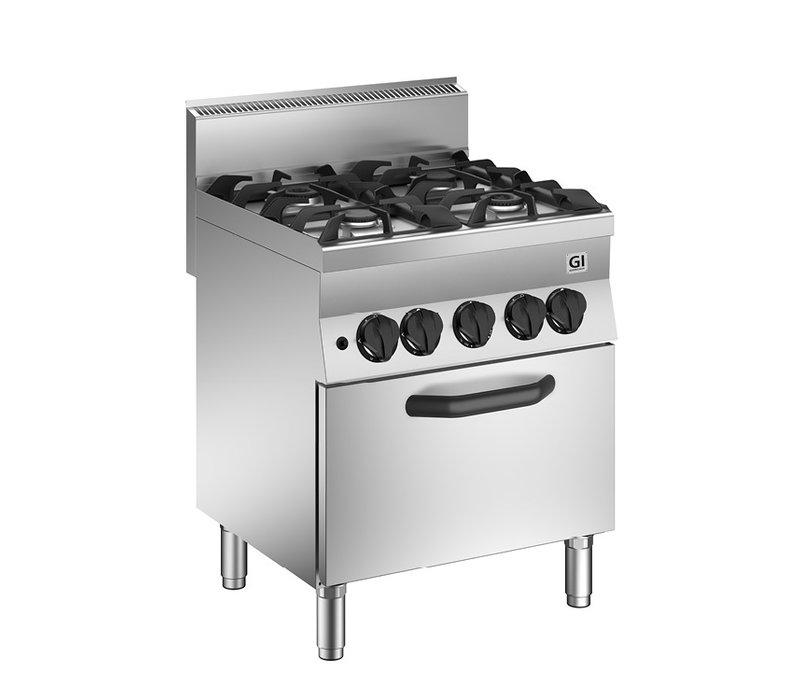 XXLselect 650 HP Gasfornuis | 4 Branders + Gas Oven 23 kW | 700x650x(H)870mm