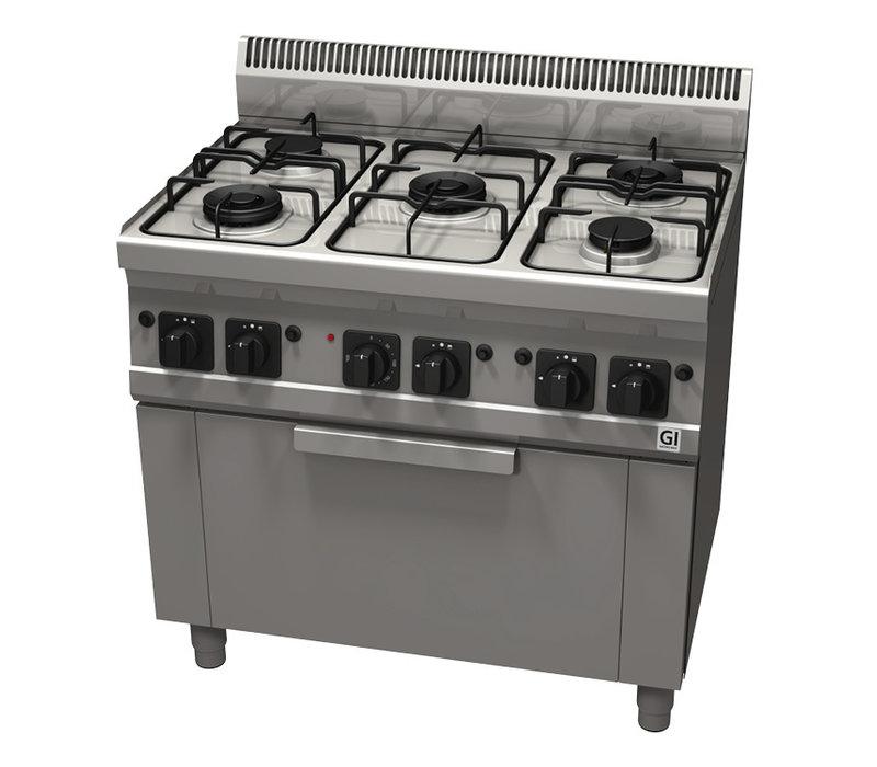 XXLselect 600 Trendline Gasfornuis | 5 Branders met Elektrische Heteluchtoven en Grillelement | 900x600x(H)1005mm
