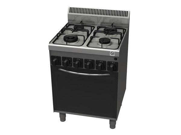 XXLselect 600 Trendline Gasfornuis | 4 branders Met gasoven en Elektrisch Grillelement | 600x600x(H)1005mm