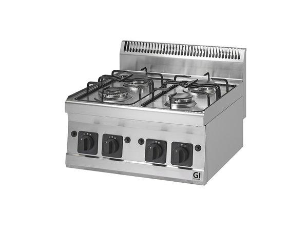 XXLselect 600 Trendline gaskooktoestel | 4 Branders 2x3,3kW & 2x4kW | 600x600x(H)455mm