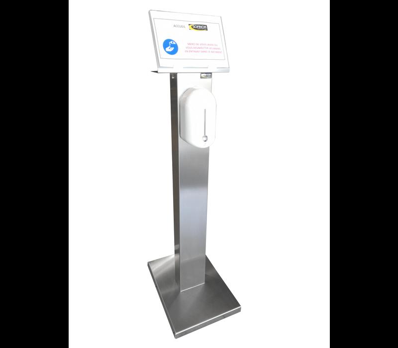 Sofinor Desinfectiezuil RVS |  Automatische Distributie |  Hydroalcoholische gel | 525 x 375 x 1409mm