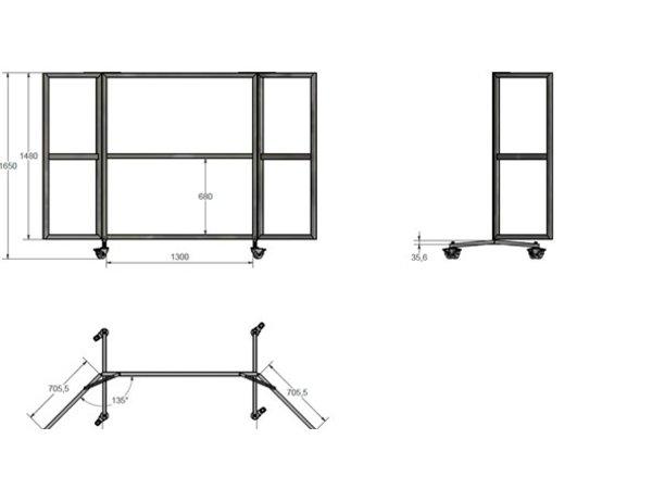 Veba Terrasscherm / Windscherm | 6 Vaks Plexiglas Ruiten | 4 Zwenkwielen