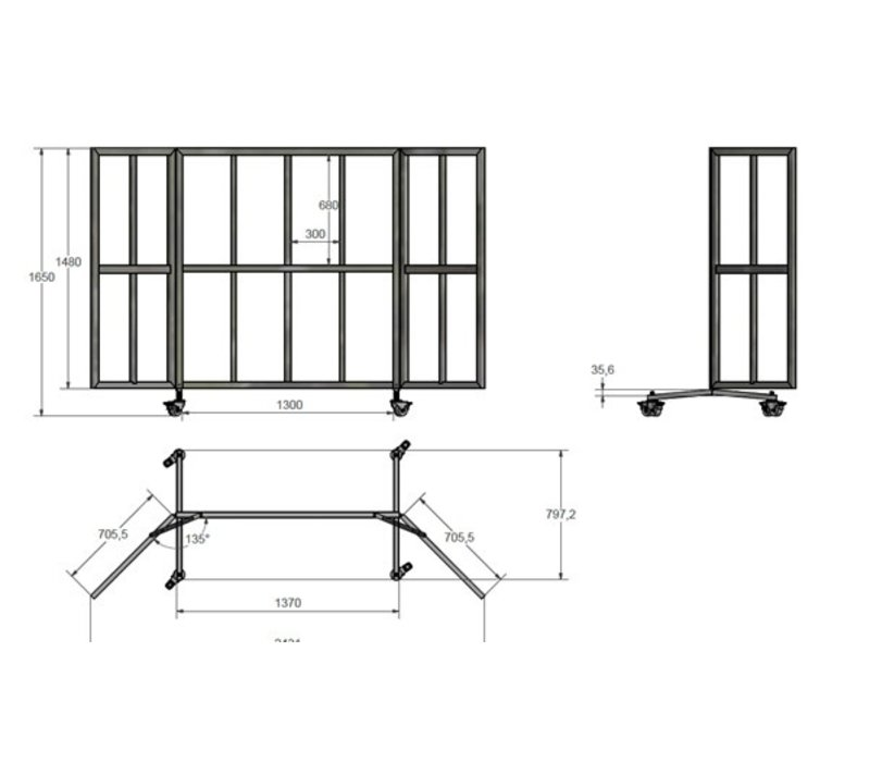Veba Terrasscherm / Windscherm |  16 Vaks Plexiglas Ruiten | 4 Zwenkwielen
