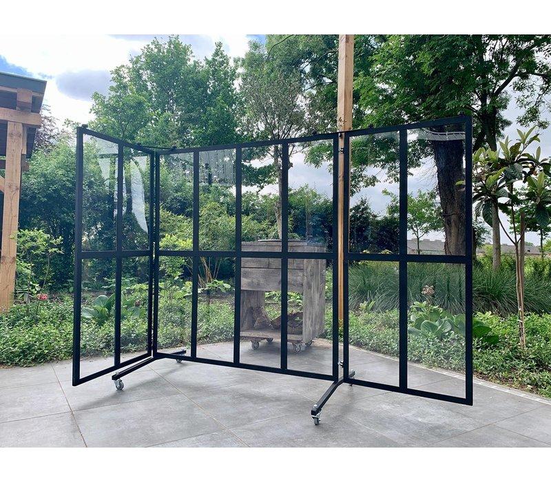 Veba Patio awning / Windbreak | 16 Compartments Plexiglass Panes | 4 swivel wheels