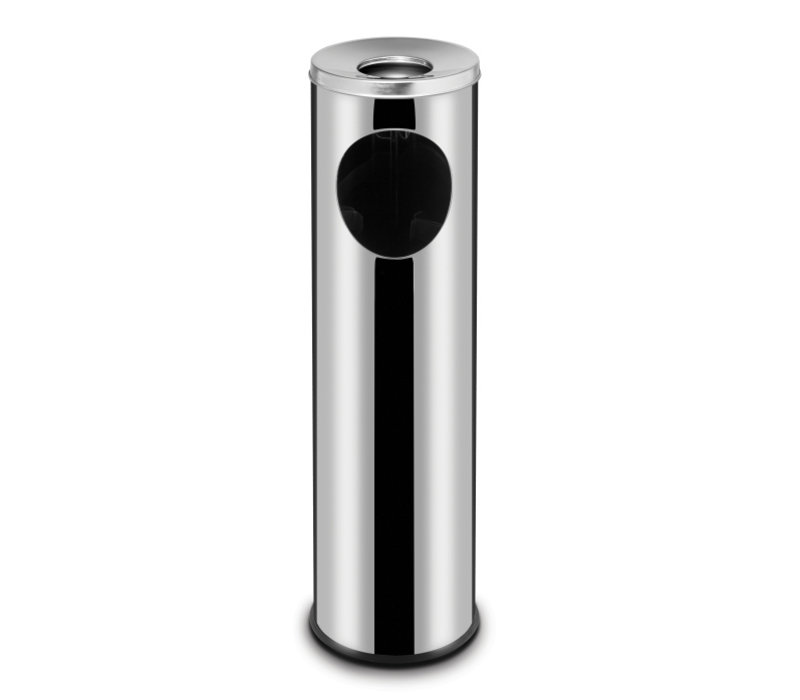 Hendi Afvalbak RVS Met Asbak | 15 Liter | Ø200x(H)700mm