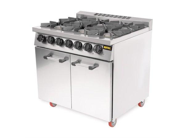 Buffalo Buffalo 6-Pits Gasfornuis + Oven Met wieltjes   38,1 kW   900x730x(H)940mm