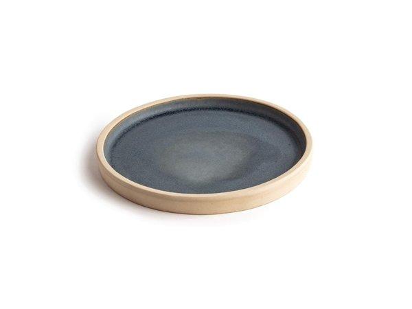 Olympia Canvas Platte Ronde Borden | Blauw Graniet | 6 Stuks | Beschikbaar in 2 Maten