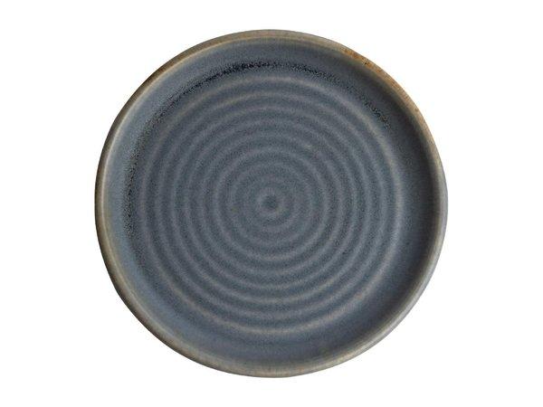 Olympia Canvas Ronde Borden Met Smalle Rand | blauw graniet | 6 Stuks | Beschikbaar in 2 Maten