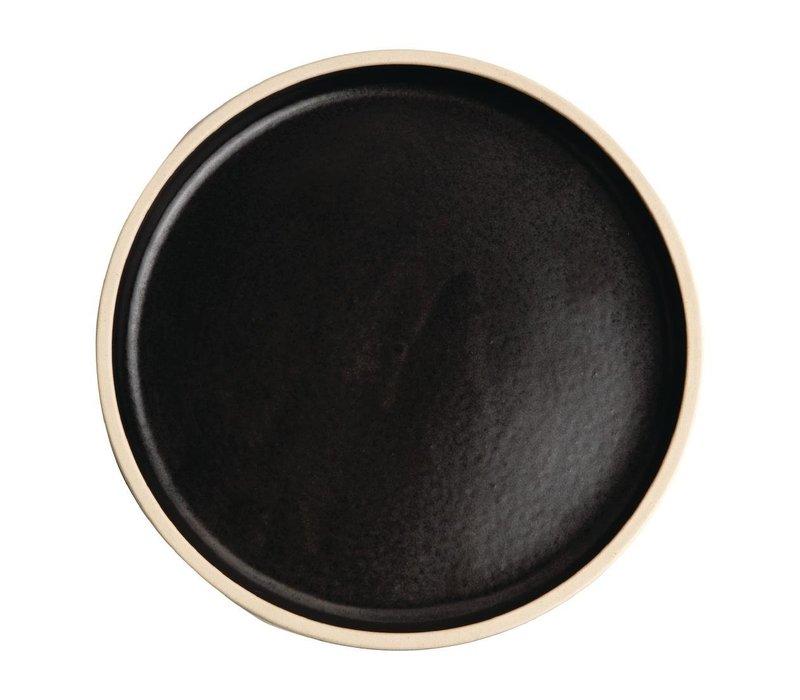 Olympia Canvas Platte Ronde Borden | Zwart| 6 Stuks | Beschikbaar in 2 Maten