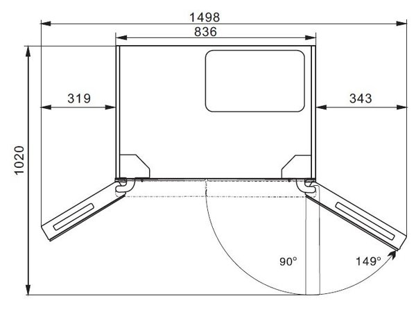 Frilec Amerikaanse Koelkast RW015-WDI | 267+165 Liter | Waterkoeler+ Tap | 836x636x(H)1780mm