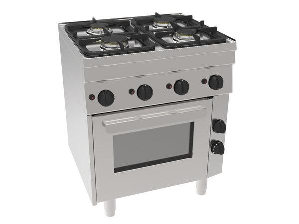 NordCap Gasfornuis GH6 / 4FLUBO | 4 Pits & Elektrische Oven | 2x 3kW & 2x 3,6 kW | 700x600x(H)850mm