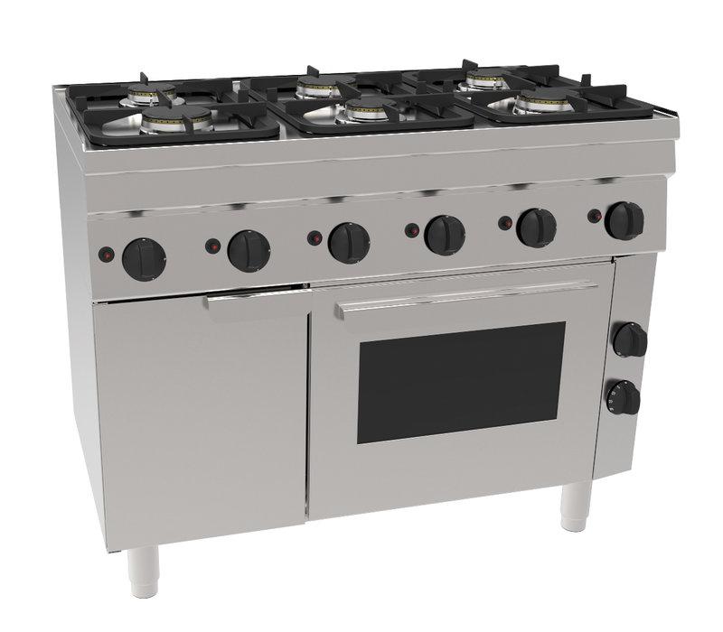 NordCap Gasfornuis GH6 / 6FLUBO | 6 Pits & Elektrische Oven | 3x 3kW & 3x 3,6 kW | 1050x600x(H)850mm