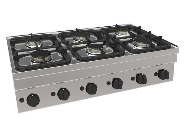 NordCap Gasfornuis GH6 / 6FLT | Tafelmodel | 3x 3kW & 3x 3,6kW | 1050x600x(H)300mm