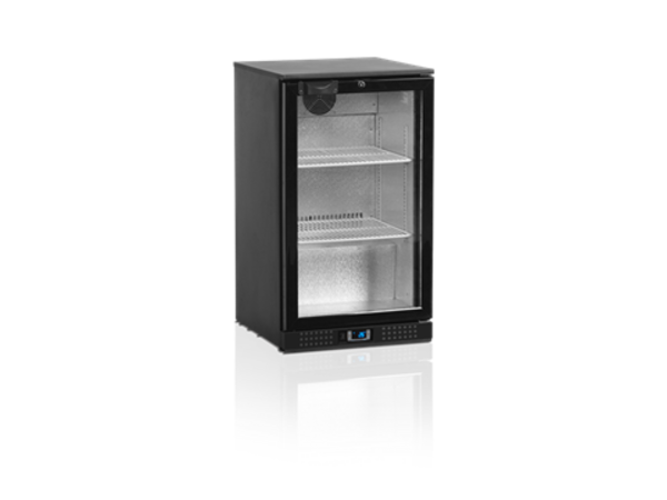 Tefcold Bar fridge Black | Glass Door | 100 Liter | Led Lighting | 500x520x (H) 870mm