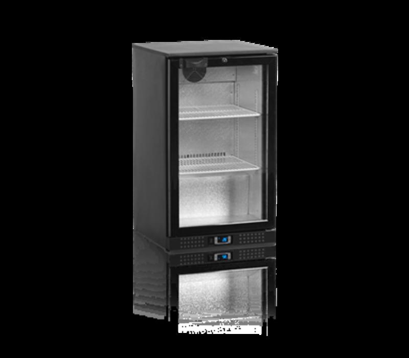Tefcold Barkoelkast Zwart | Glazen Deur | 100 Liter | Led Verlichting | 500x520x(H)870mm
