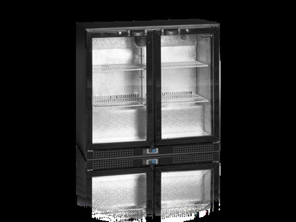 Tefcold Barkoelkast Zwart | 2 Glazen Deuren | 191 Liter | Led Verlichting |900x520x(H)870mm