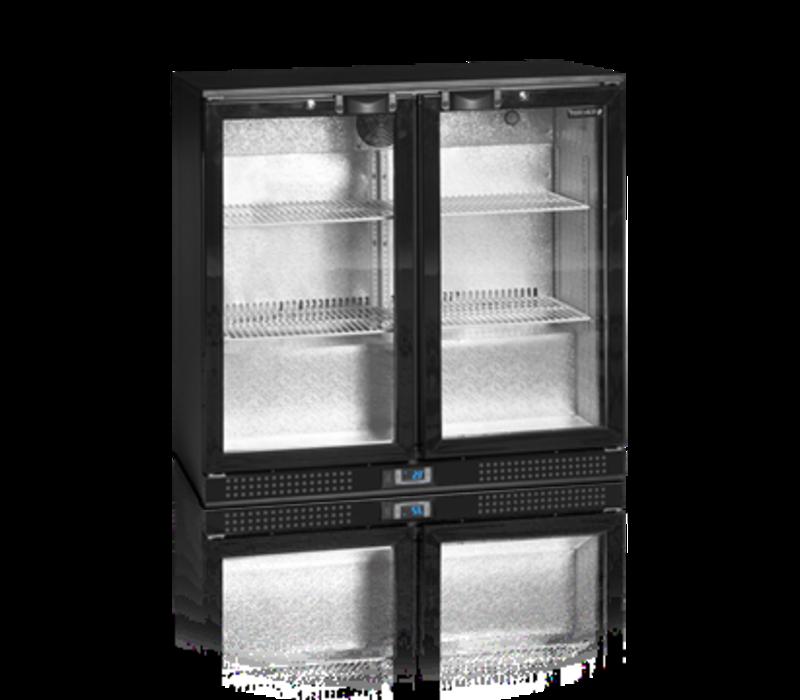 Tefcold Bar fridge Black | 2 Glass Doors | 191 Liter | LED Lighting | 900x520x (H) 870mm