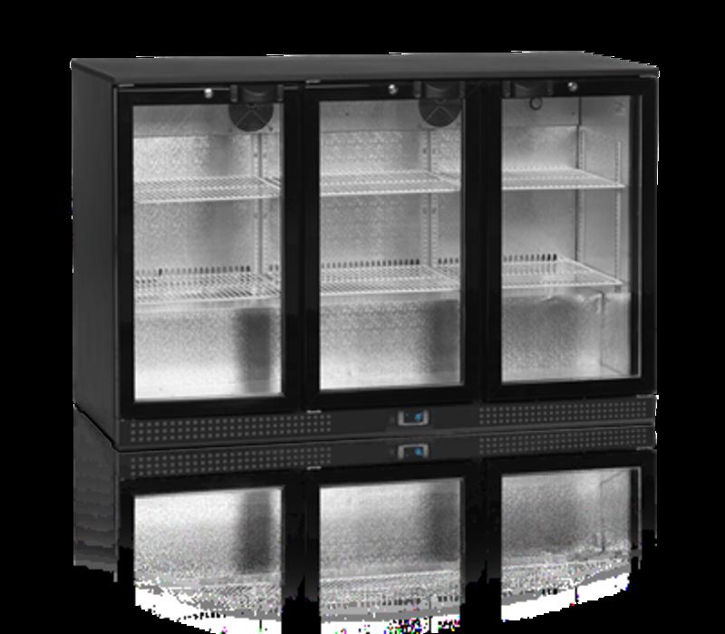 Tefcold Barkoelkast Zwart | 3 Glazen Deuren | 300 Liter | Led Verlichting | 1355x520x(H)870mm