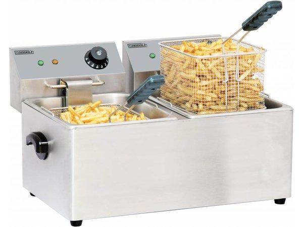 Casselin OUTLET Friteuse RVS | 2x4 Liter | 2x2kW | 435x400x(H)315mm