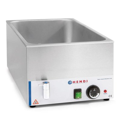 Hendi Bain Marie GN 1/1 | 150 mm deep | Kitchen Line | With water drain valve | 1200W | 340x540x (H) 250mm
