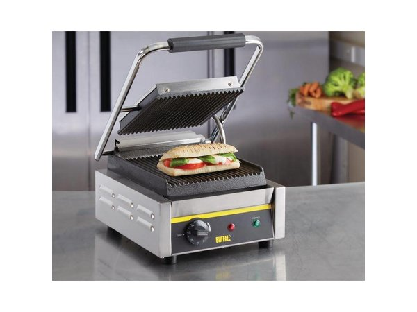 Buffalo OUTLET Contact Grill Budget Small - Geribbeld - 29x31x (h) 29cm - 1500W