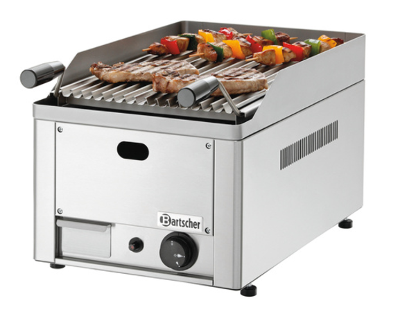 Bartscher OUTLET Lavasteengrill Gas RVS - Tafelmodel - met Grill Rooster -33x54x(h)28,5cm - 4KW