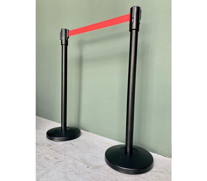XXLselect Trendy Afzetpaal Zwart  Trekkoord Rood | 8 kg | 980mm Hoog | Per 2 Afzetpalen