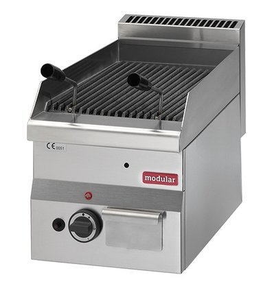 Modular Lava Stone Grill RVS 600 Modular Gas - Tabletop - with Cast Iron Rooster - 30x60x (h) 28cm - 5.5KW