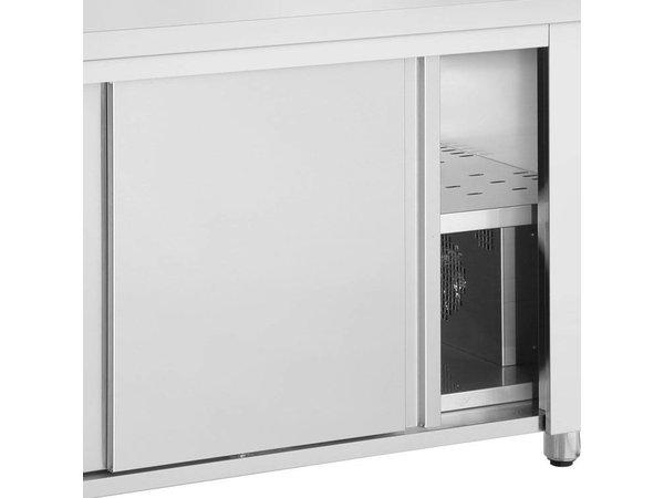 Inomak OUTLET Bain Marie - RVS - met Neutrale Onderkast - 2480W - Glasopbouw - 3 Bakken - 1/1 GN - 110x70x(h)129cm