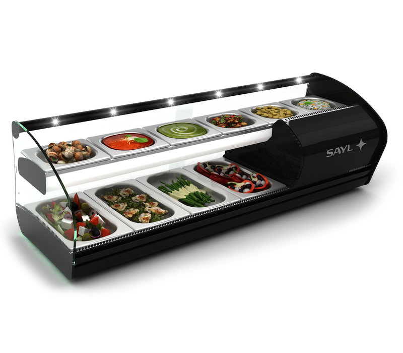 SAYL OUTLET Double Tapas Refrigerated display case | 2 Floors | Suitable for 40mm Deep Bins