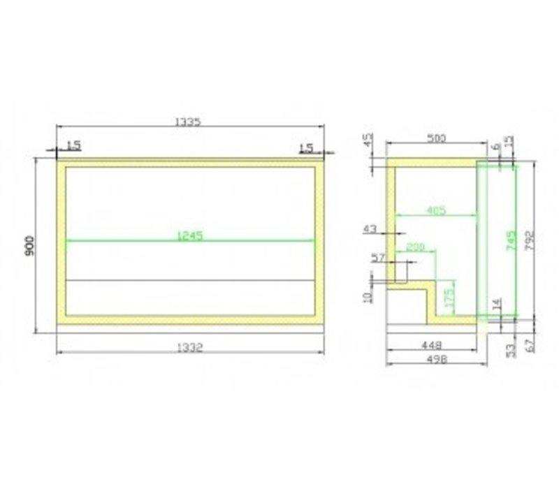 Combisteel Barkoelkast Zwart | 3 Glazen Deuren | 298 Liter | 1335x500x(H)900mm