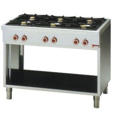 Diamond Stove with open undercarriage 6 burner 3,6kW + 3 x 3 x 5kw - 110 x65x85cm
