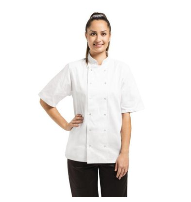 Whites Chefs Clothing Cooks Tube Vegas with press studs - Short Sleeves - Available in 6 sizes - Unisex - White