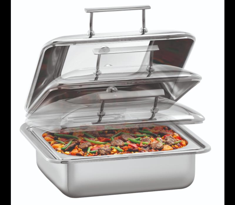 Bartscher Chafing dish 5,2 Liter Flexible | Vierkant Model Met Kijkvenster | 405x425x(H)205mm