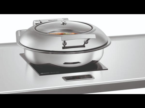 Bartscher Chafing dish 6,2 Liter Flexible   Rond Model Met Kijkvenster   435x472x(H)185mm
