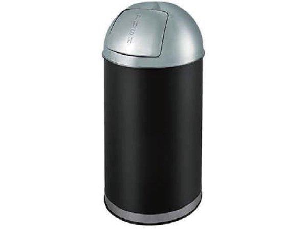 Combisteel Afvalbak Zwart Met Push Deksel |  35 Liter | Ø350x(H)780mm