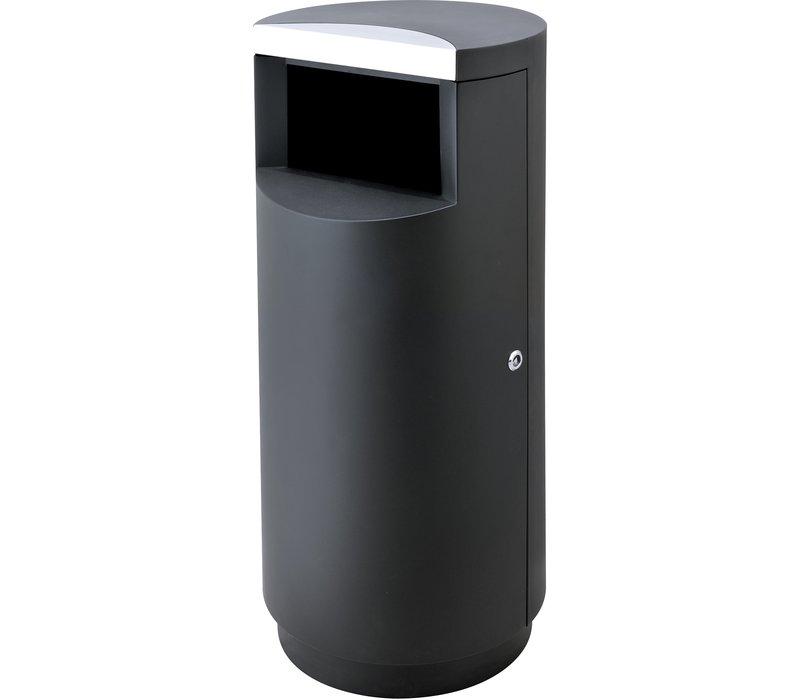 Combisteel Afvalbak Zwart | 40 Liter | Ø400x(H)900mm
