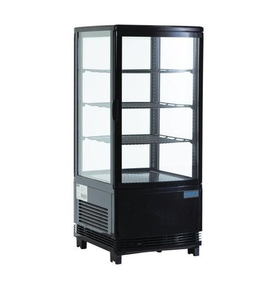 Polar Small refrigerated display case with lighting - black - 68 liters - 3 Roosters - 43x39x (h) 88cm - XXL OFFER!