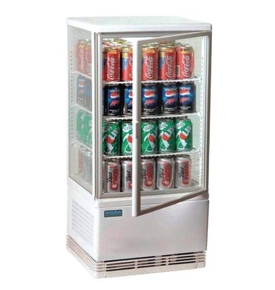 Polar Small refrigerated display case with lights - White - 68 Liter - 3 Roosters - 43x39x (h) 88cm - XXL OFFER!
