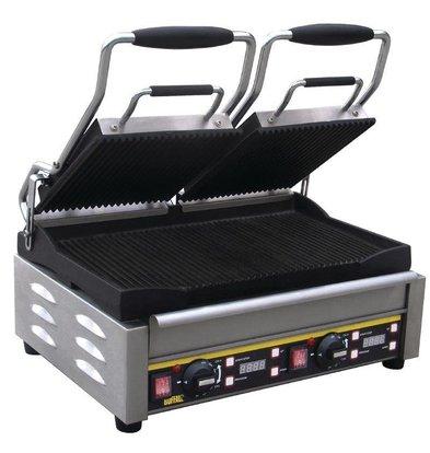 Buffalo Contactgrill Dubbel - Heavy Duty - Geribd - 48x40x(h)24cm- 2900W - Digitaal