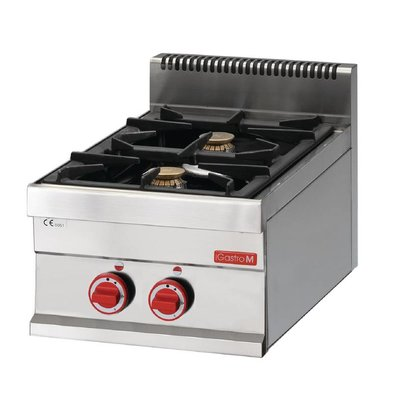 Gastro M Gas cooker - Stainless steel - 2 burners - 40x65x (h) 28cm - 8.6kW
