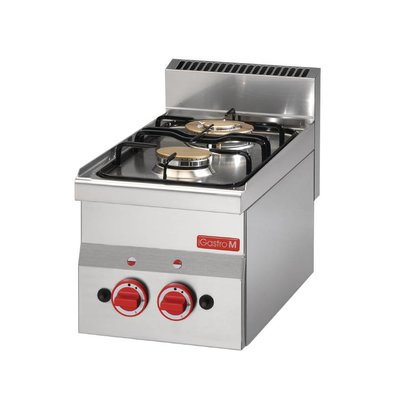 Gastro M Gas cooker - Stainless steel - 2 burners - 30x60x (h) 28cm - 6.1kW
