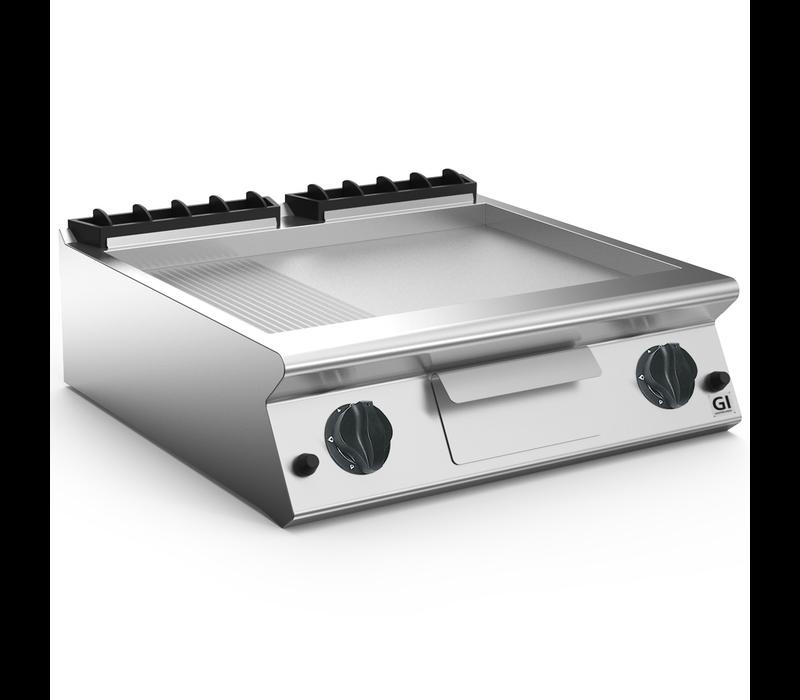 XXLselect 700 HP Gasbakplaat 2/3 Glad 1/3 Geribbelde RVS Plaat | 14 kW | 800x730x(H)250mm