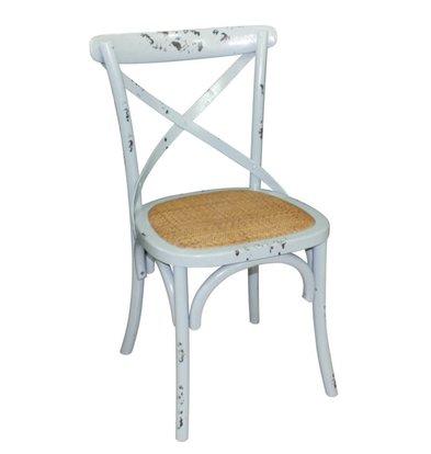 Bolero Houten stoel met gekruiste rugleuning - Antiek Blue Wash - Prijs per 2 Stuks