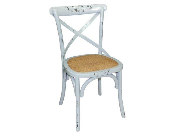 Xxlselect houten stoel met gekruiste rugleuning antiek blue wash
